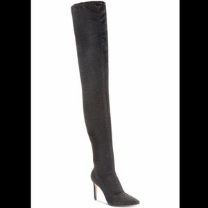 Black Glitter Over the Knee Boots